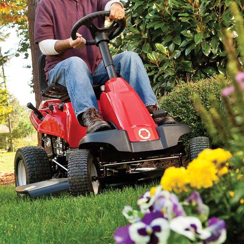 Troy Bilt Neighborhood Rider cutting grass