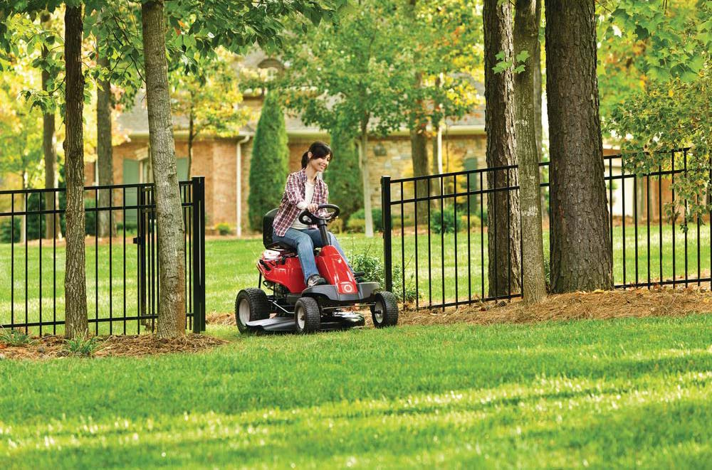 Troy Bilt Neighborhood Rider going through gate