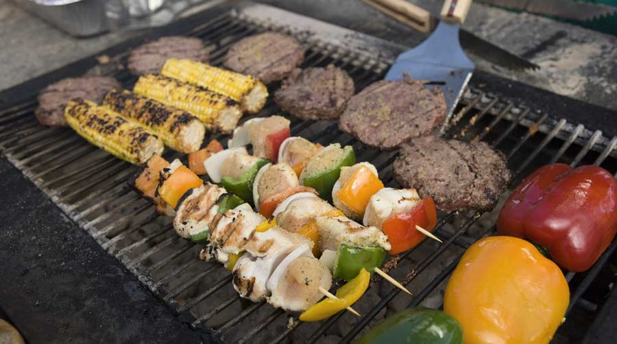 Food on barbecue