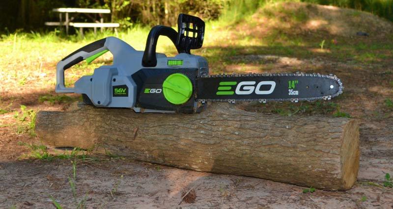 EGO Power+ Chainsaw on log