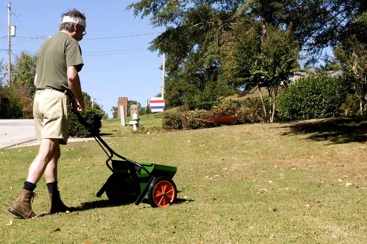 Man with Fertilizer Spreader