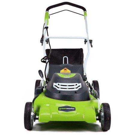 Greenworks 25022 Lawn Mower back view
