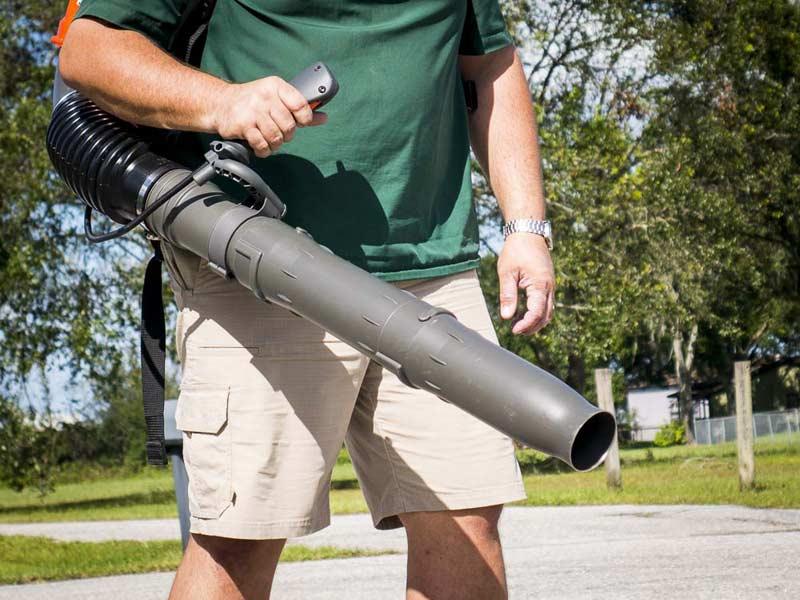 Husqvarna 580BTS Backpack Blower in use