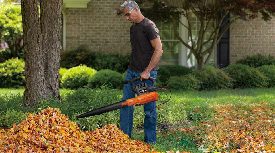 Man using Worx WG518 to blow leaves