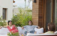 Hispanic family on patio