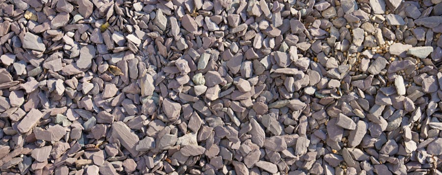 Close-up view of mixed gravel and slate stones