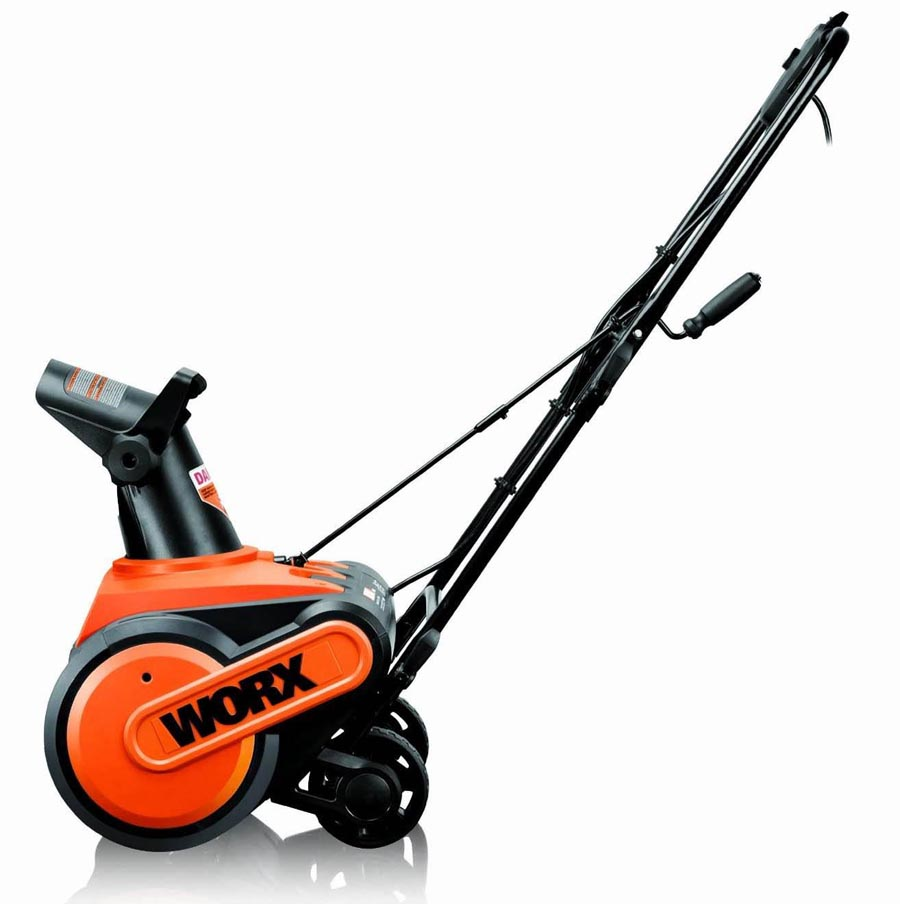 WORX WG650 snow blower from the side