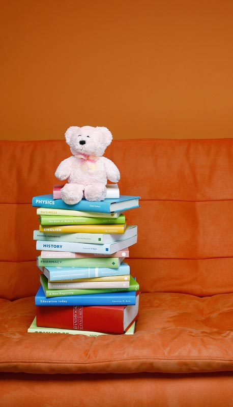 Child's teddy bear on top of pile of books on sofa