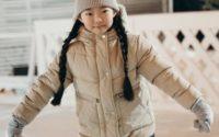 Young girl ice skating