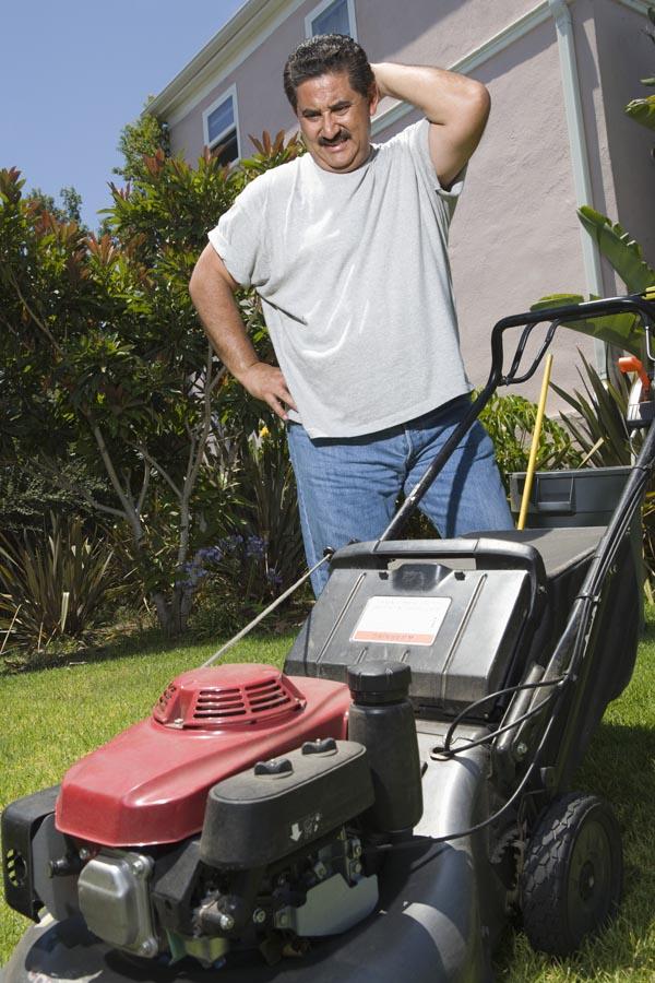 Man observing lawn mower in garden