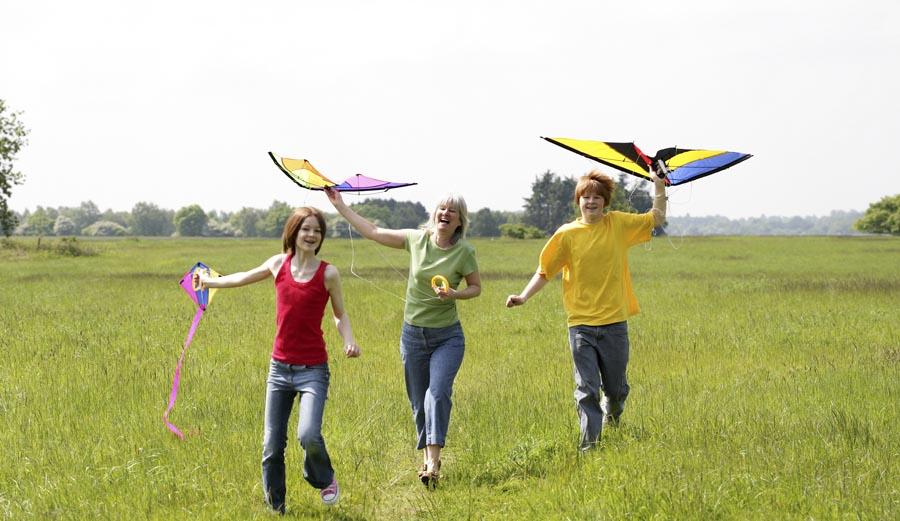Teens with kites