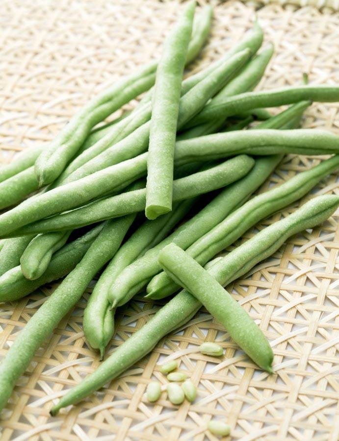 Runner beans on table