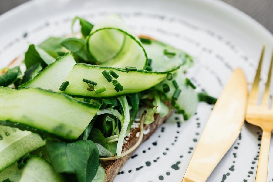 Zucchini sliced on plate