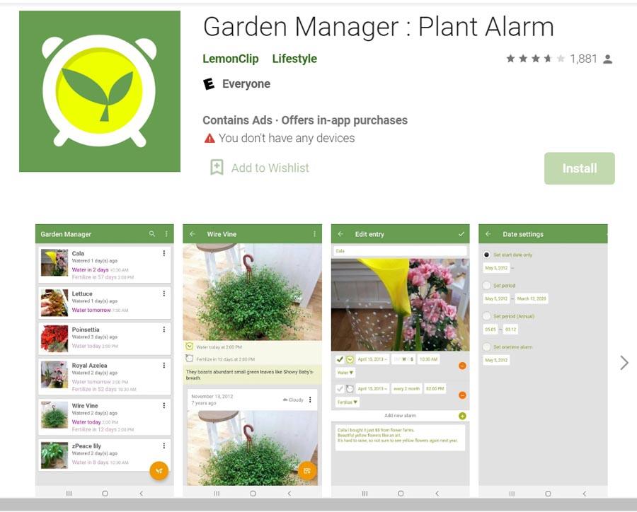 Plant Alarm app