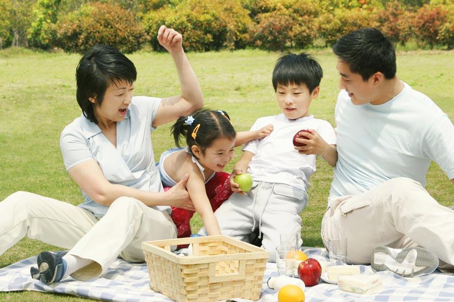 Asian family looking happy