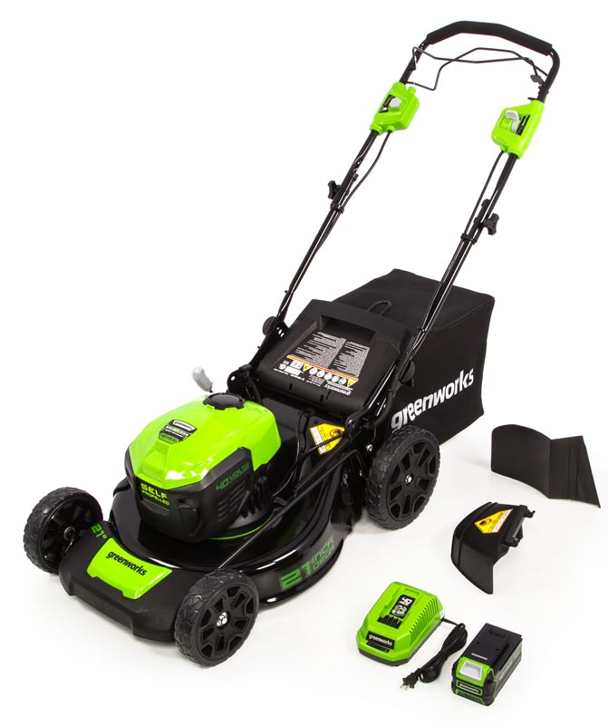 Lawn mower and batteries laid alongside it