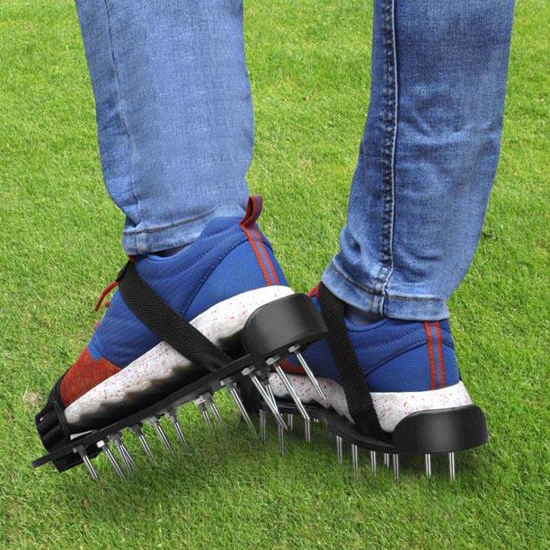 Man wearing aerator shoes