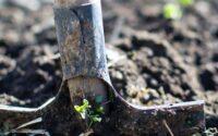 Spade digging up dirt