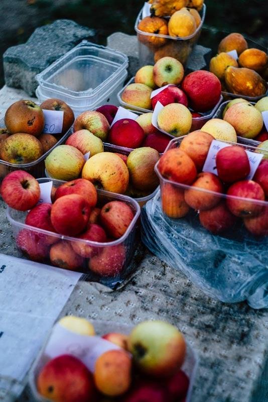 Punnet of fruit on table