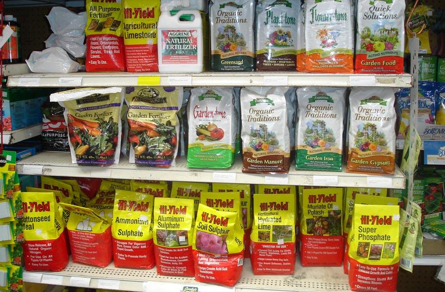 Stocks of fertilizers on shelves